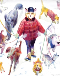 Jillian Tamaki Dog Walker personal illustration