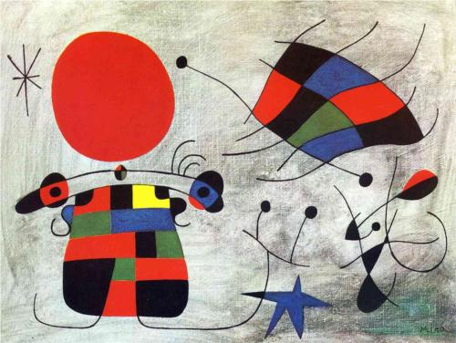 1953 Joan Miro Surrealist Automatic painting The Smile of the Flamboyant Wings