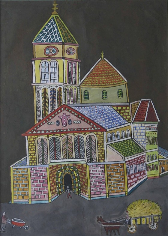 Emerik Fejes Old Town painting outsider artist