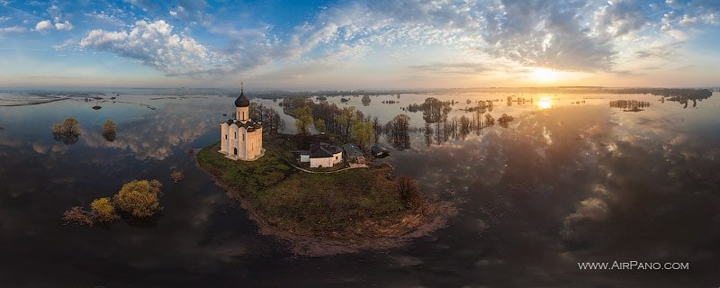 airpano Church of the Intercession on the Neri - Russia aerial photography