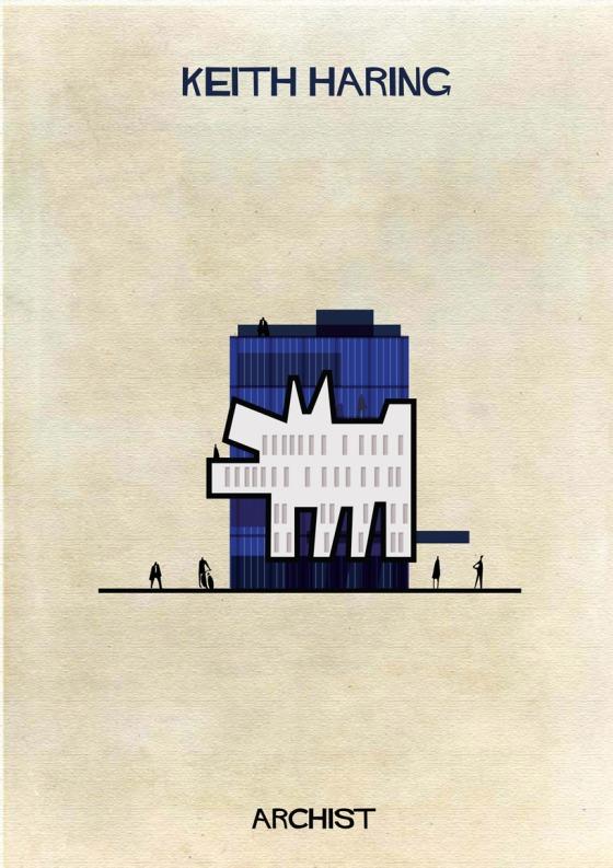 federico babina archist city keith haring illustration