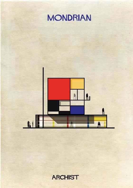 federico babina archist city mondrian house illustration