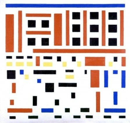 bart van der leck no 4 leaving the factory abstract de stijl painting