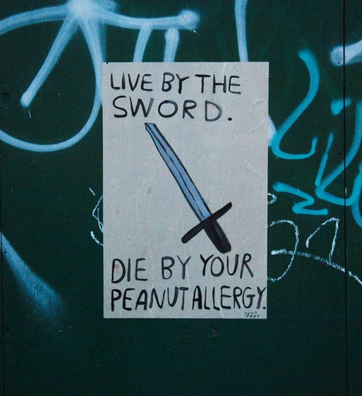 don't fret chicago street art sword peanut allergy