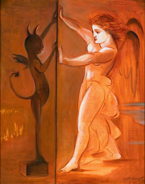 edith vonnegut angel good and evil painting