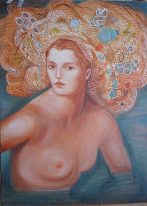 edith vonnegut festooned with flotsom female nude painting water