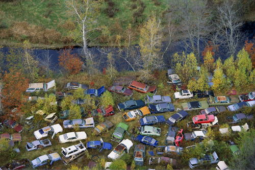 alex maclean aerial photography cars woods
