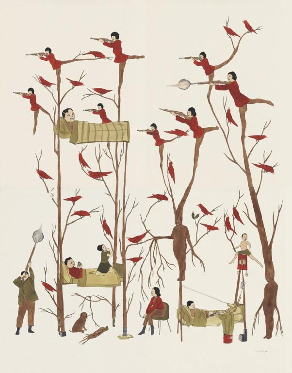 marcel dzama eight strong winds 2005 surreal painting guns trees winnipeg