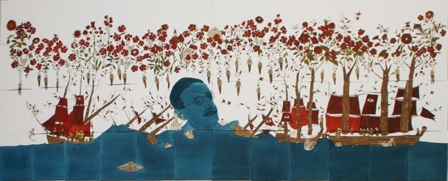 marcel dzama neptune james joyce flowers surrealist drawing winnipeg new york