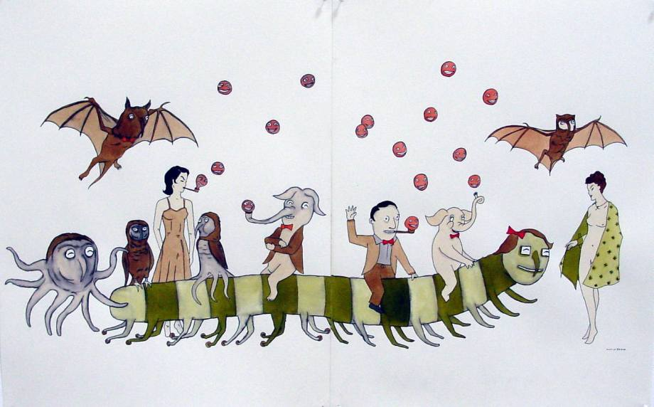 marcel dzama untitled 2003 surrealist painting caterpillar bat people