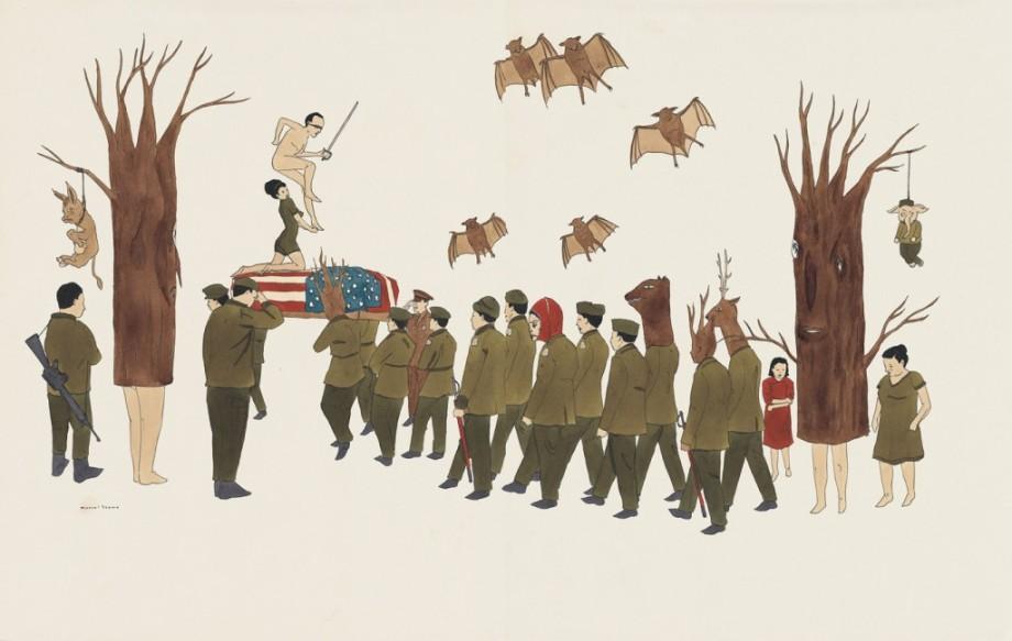 marcel dzama winnipeg new york fades away 2005 surrealist painting soldiers flag