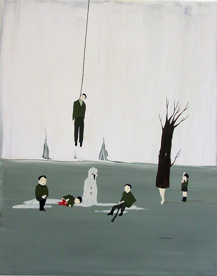 marcel dzama last winter here ice tree surrealist painting hanged man winnipeg