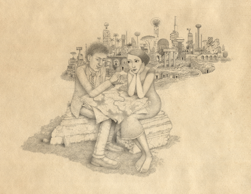randall sellers the conversation graphite drawing tiny people 2008