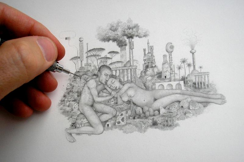 randall sellers working on sleeping couple tiny graphite drawing fantasy