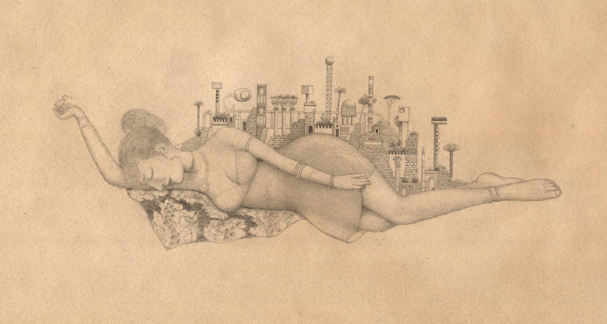 randall sellers sleeper 2008 miniature drawing