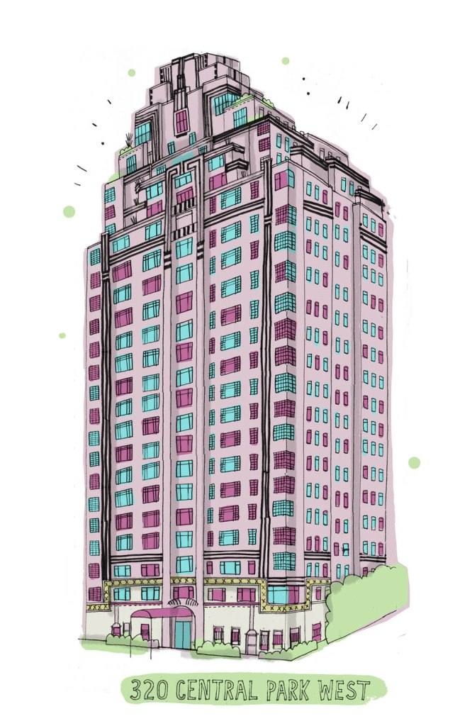 allthebuildings-centralparkwest james gulliver hancock quirky drawing