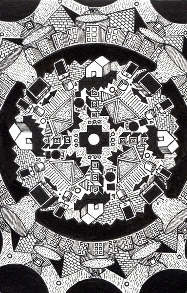 david lee price house tv mandala illustration drawing