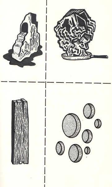 david lee price waterfall wood skillet holes illustration black and white