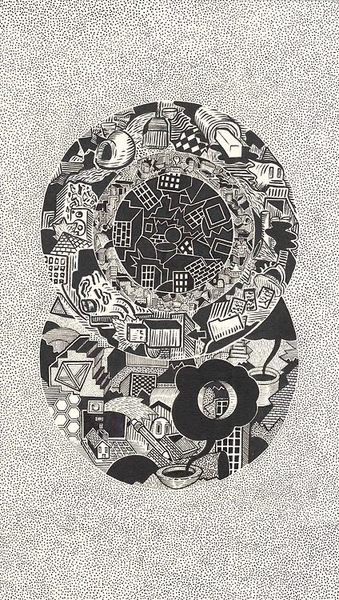 david lee price eyeball 2014 ink black and white