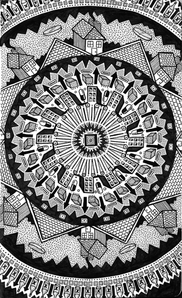 david lee price new mandala house black and white ink drawing