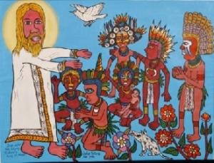 bigpela long ol pipol john siune papua new guinean art painting