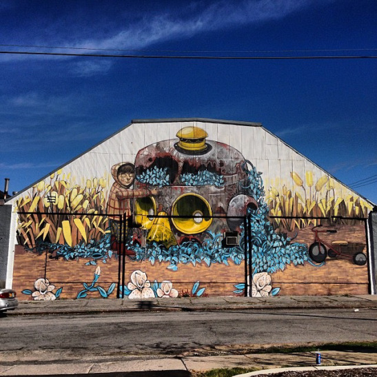 wall therapy pixel pancho street art mural rochester NY 2013