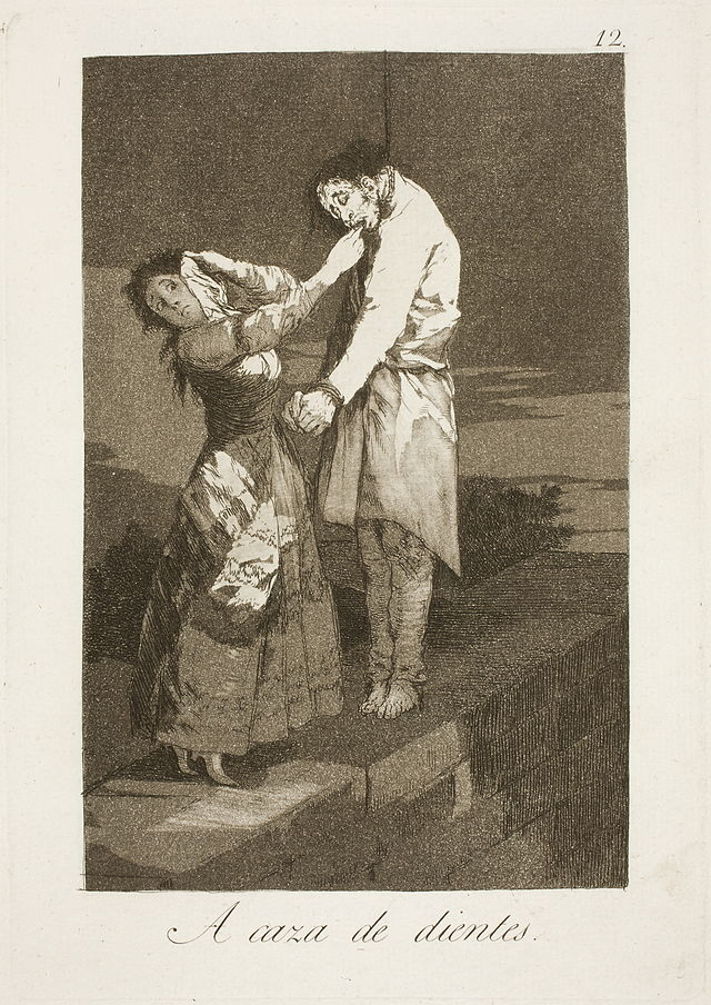 francisco goya out hunting for teeth caprichos 1799