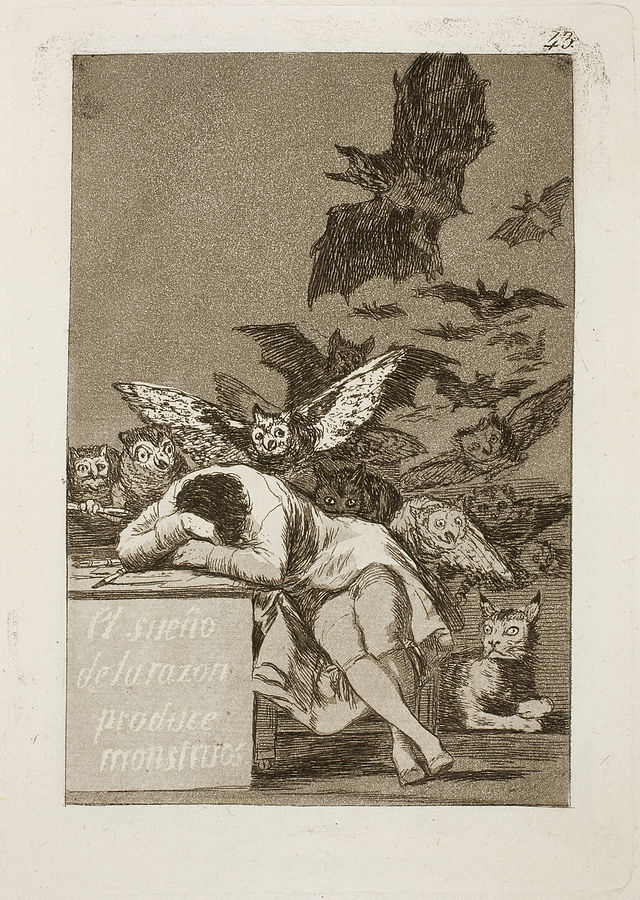 francisco goya caprichos the sleep of reason produces monsters 1799 spanish painting art