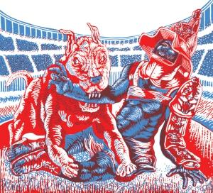 pol-edouard jeux romain roman games print dog gladiator 3D France art book