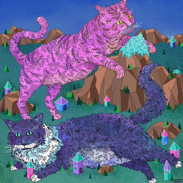 cat cats mountain play purple pink surreal image