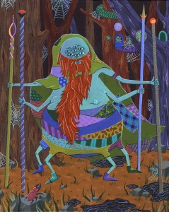 spider wizard shaman propher forest night moon watercolor frenchfourch worldwide